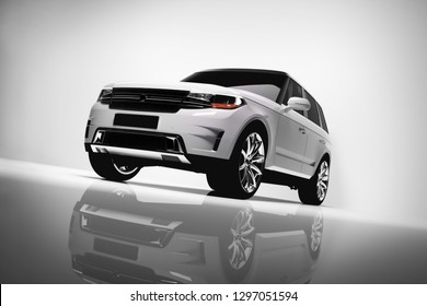 White SUV car on white background. Brandless vehicle, modern automobile design. 3D illustration.