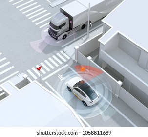 White SUV in one-way street detected vehicle in the blind spot. Stop sign in Japanese.  left-hand traffic region. Connected car concept. 3D rendering image.