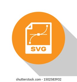 White SVG file document icon. Download svg button icon isolated on white background. SVG file symbol. Orange circle button