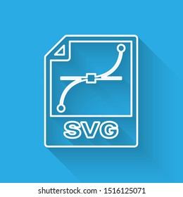 White SVG file document icon. Download svg button line icon isolated with long shadow. SVG file symbol