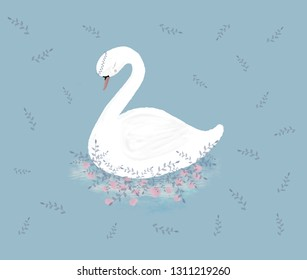 White swan on floral background