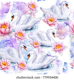 White swans. The lotuses. Water lilies. Seamless pattern. Illustration. Template