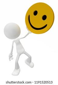 White symbolic figures raising happy smile symbol, 3d illustration, horizontal