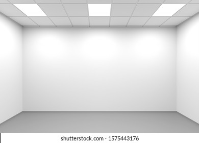 White symmetrical empty office interior background, 3d rendering illustration