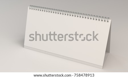White Table Calendar Mockup On White Stock Illustration 758478913