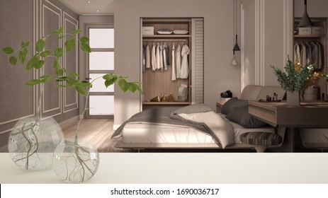White table top or shelf with glass vase with hydroponic plant, ornament, root of plant in water, branch in vase, house plant, classic bedroom with walk-in closet, interior design, 3d illustration