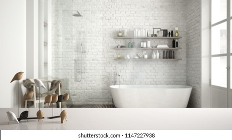 White table top or shelf with minimalistic bird ornament, birdie knick - knack over blurred classic vintage bathroom, modern interior design, 3d illustration