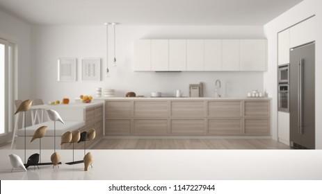 White table top or shelf with minimalistic bird ornament, birdie knick - knack over blurred contemporary scandinavian wooden kitchen, modern interior design, 3d illustration