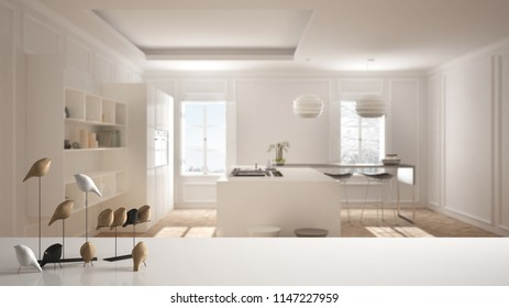 White table top or shelf with minimalistic bird ornament, birdie knick - knack over blurred contemporary kitchen with island and panoramic window, modern interior design, 3d illustration