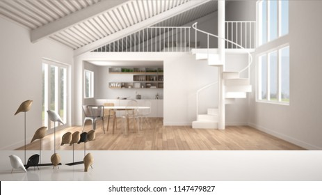 White table top or shelf with minimalistic bird ornament, birdie knick - knack over blurred contemporary living room with kitchen and mezzanine, modern interior design, 3d illustration