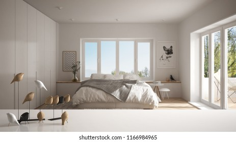 White table top or shelf with minimalistic bird ornament, birdie knick - knack over blurred contemporary bedroom with big windows, modern interior design, 3d illustration