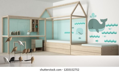White table top or shelf with minimalistic bird ornament, birdie knick - knack over blurred contemporary child bedroom, modern interior design, 3d illustration