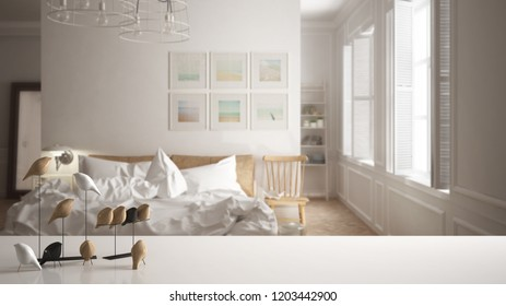 White table top or shelf with minimalistic bird ornament, birdie knick - knack over blurred scandinavian white bedroom, modern interior design, 3d illustration