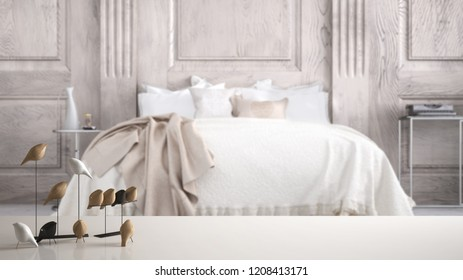 White table top or shelf with minimalistic bird ornament, birdie knick - knack over blurred classic bedroom with double bed, modern interior design, 3d illustration