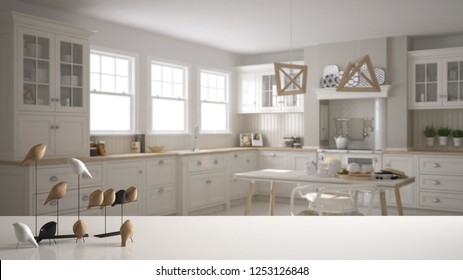 White table top or shelf with minimalistic bird ornament, birdie knick - knack over blurred scandinavian kitchen with dining table and chairs, modern interior design, 3d illustration
