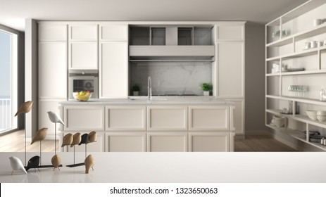 White table top or shelf with minimalistic bird ornament, birdie knick - knack over blurred classic white kitchen in contemporary apartment, modern interior design, 3d illustration