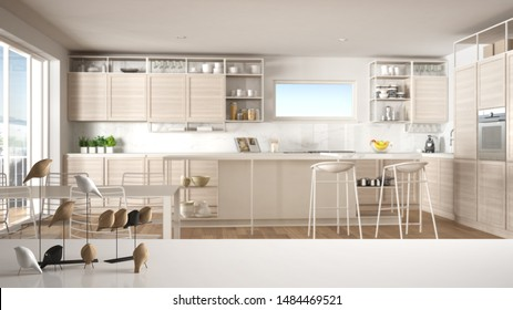 White table top or shelf with minimalistic bird ornament, birdie knick - knack over blurred contemporary white and wooden kitchen with island and stools, modern interior design, 3d illustration