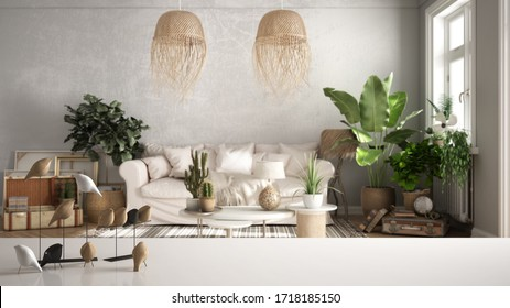 White table top or shelf with minimalistic bird ornament, birdie knick - knack over blurred vintage living room with sofa, lounge, carpet, potted plants, retro interior design, 3d illustration