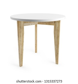 White table with wooden legs isolated on white background with clipping path included. 3D rendering.