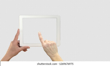 White tablet in woman hand mockup isolated on transparent background, pointing hand, template mock-up, 3d illustration