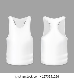 White tank top or T-shirt illustration of 3d realistic casual or sportswear model for promo branding. Isolated template of sleeveless man and woman sport vest or gym wear for print design