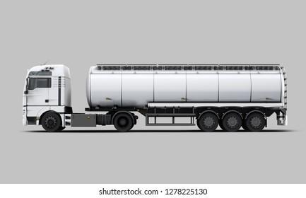 White Tanker Truck left view. 3D rendering