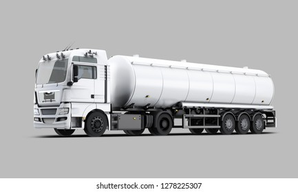 White Tanker Truck perspective view. 3D rendering