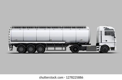 White Tanker Truck right view. 3D rendering
