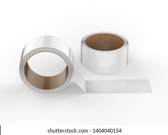 White tape roll isolated on white background, 3d illustration.