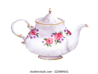 White tea pot with flowers. Watercolor