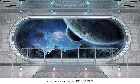 White tech spaceship round window interior with view on distant planets system 3D rendering elements of this image furnished by NASA