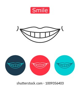 White teeth smile icon. Healthy teeth, nice lips, a good mood, emotion fun. Brochures, advertisements, manuals, technical descriptions.  illustration Isolated on a white background.
