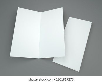 White template leaflet on gray background. Mockup. 3D rendering
