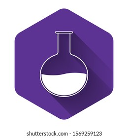 White Test tube and flask - chemical laboratory test icon isolated with long shadow. Laboratory glassware sign. Purple hexagon button