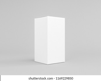 White textured paper box mockup isolated on gray, Half Side View, 3d rendering