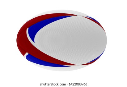 A white textured rugby ball with blue and red printed design elements in on a isolated white background - 3D render