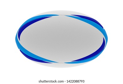 A white textured rugby ball with blue printed design elements in on a isolated white background - 3D render