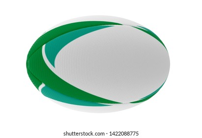 A white textured rugby ball with green printed design elements in on a isolated white background - 3D render