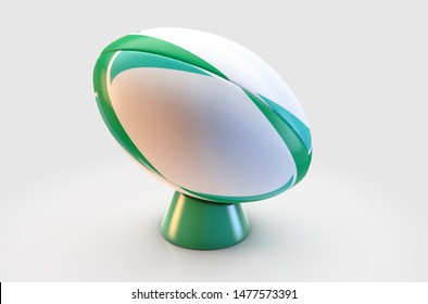 A white textured rugby ball with a green design pattern resting on a green kicking tee on a isolated white background - 3D render
