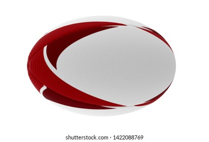 A white textured rugby ball with red printed design elements in on a isolated white background - 3D render