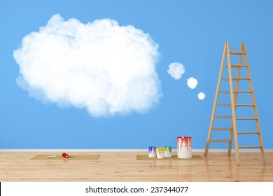 White thought cloud painted on a blue wall during renovation (3D Rendering)