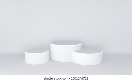 White three-level podium with luminous strip on a white background. Three simple cylindrical pedestals for product presentation. 3D rendering.