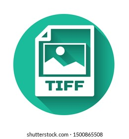 White TIFF file document icon. Download tiff button icon isolated with long shadow. TIFF file symbol. Green circle button