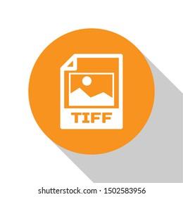 White TIFF file document icon. Download tiff button icon isolated on white background. TIFF file symbol. Orange circle button