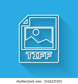 White TIFF file document icon. Download tiff button line icon isolated with long shadow. TIFF file symbol
