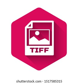White TIFF file document icon. Download tiff button icon isolated with long shadow. TIFF file symbol. Pink hexagon button