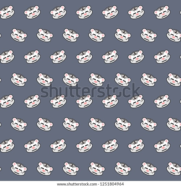 White Tiger Emoji Pattern 25 Stock Illustration 1251804964