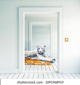 white tiger on the orange carpet in the room. Photo and media elements combination creative concept