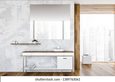 White tile and wooden bathroom interior with sink standing on white and wooden countertop, large window and mirror. 3d rendering