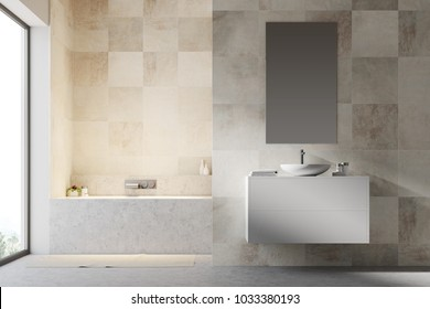 White tiled bathroom interior with a concrete floor, a bathtub, a sink on a white vanity unit and a narrow vertical mirror. 3d rendering mock up